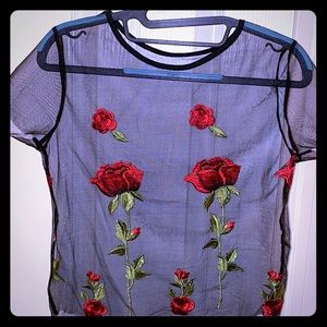 Tops - Black Sheer Mesh Foral embroidered Sz S crop top